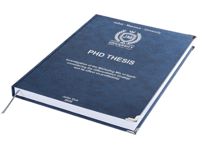 PHD Thesis printing binding leather binding blue silver