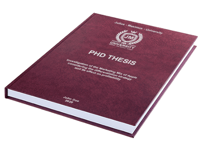 PHD Thesis printing binding leather binding red silver