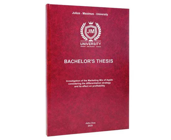 Print time for Bachelor's thesis printing and binding with leather binding and embossing