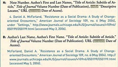 Chicago Style Citation Journal Article Online footnotes