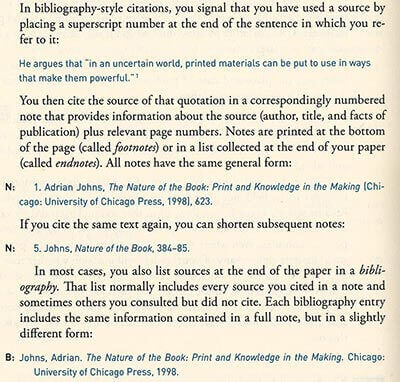 term paper chicago style citation example footnotes