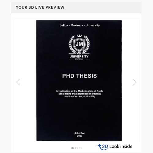 PhD softcover 3D-live-preview