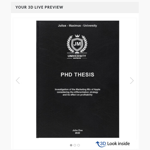 PhD standard leather book binding 3D-live-preview