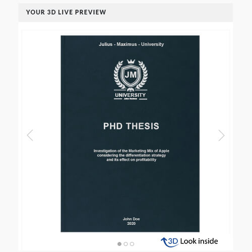 PhD premium leather book binding 3D-live-preview