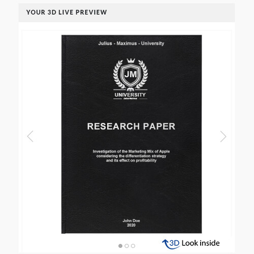 Research standard leather book binding 3d look inside