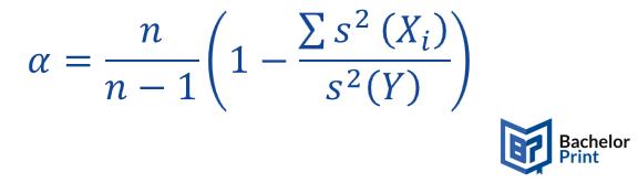 Cronbach's alpha formula